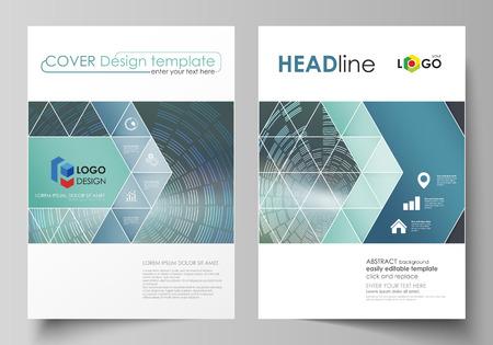Plantillas comerciales para folletos, revistas, volantes, folletos o informes anuales. Plantilla de diseño de portada, vector editable fácil, diseño plano abstracto en tamaño A4. Fondo de tecnología en estilo geométrico de círculos.