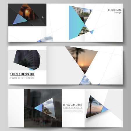 The minimal vector layout of square format covers design templates for trifold brochure, flyer, magazine. Creative modern background with blue triangles and triangular shapes. Simple design decoration Ilustração