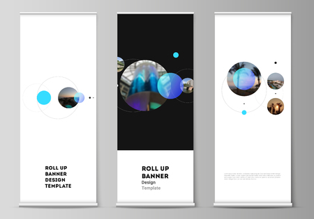 The vector layout of roll up banner stands, vertical flyers, flags design business templates. Simple design futuristic concept. Creative background with circles that form planets and stars.