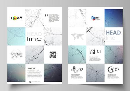 Plantillas comerciales para folletos, revistas, folletos, folletos o informes anuales. Plantilla de diseño de portada, vector editable fácil, diseño plano abstracto en tamaño A4. Comprende líneas y puntos. Visualización de big data en estilo minimalista. Fondo de comunicación gráfica.
