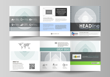 Set of business templates for tri fold square design brochures. Leaflet cover, abstract flat layout, easy editable vector. Minimalistic background with lines. Gray color geometric shapes forming simple beautiful pattern. Ilustração Vetorial