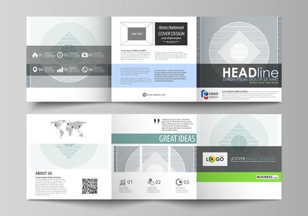 Zestaw szablonów biznesowych dla broszur projektowych tri fold kwadratowych. Okładka ulotki, abstrakcyjny układ płaski, łatwy do edycji wektor. Minimalistyczne tło z liniami. Geometryczne kształty w kolorze szarym tworzące prosty piękny wzór. Ilustracje wektorowe