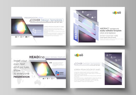 Set of business templates for presentation slides. Easy editable abstract vector layouts in flat design. Retro style, mystical Sci-Fi background. Futuristic trendy design.