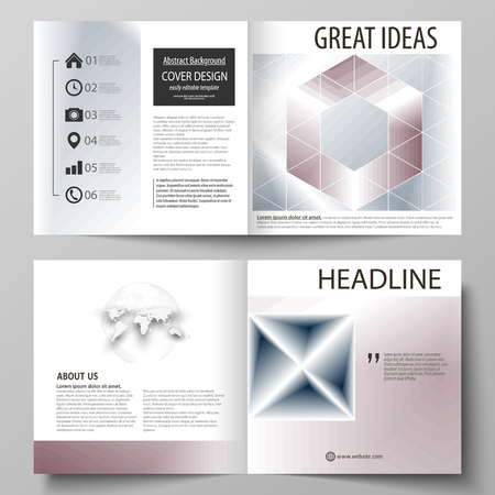 Business templates for square design bi fold brochure, magazine, flyer, booklet or annual report. Leaflet cover, abstract flat layout, easy editable vector. Simple monochrome geometric pattern. Abstract polygonal style, stylish modern background. 矢量图片