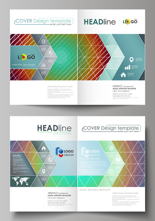 Business templates for bi fold brochure, magazine, flyer, booklet or annual report. Cover design template, easy editable vector, abstract flat layout in A4 size. Minimalistic design with circles, diagonal lines. Geometric shapes forming beautiful retro background. Illustration
