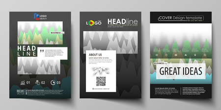 The black colored vector illustration of the editable layout of A4 format covers design templates for brochure, magazine, flyer, booklet. Rows of colored diagram with peaks of different height