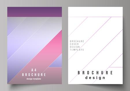 De vectorillustratie van de bewerkbare lay-out van A4-formaat moderne cover mockups ontwerpsjablonen voor brochure, tijdschrift, flyer, boekje, jaarverslag. Creatief modern dekkingsconcept, kleurrijke achtergrond. Vector Illustratie