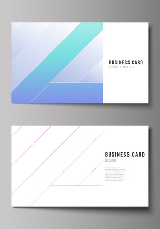 The minimalistic abstract vector illustration of the editable layout of two creative business cards design templates. Creative modern cover concept, colorful background