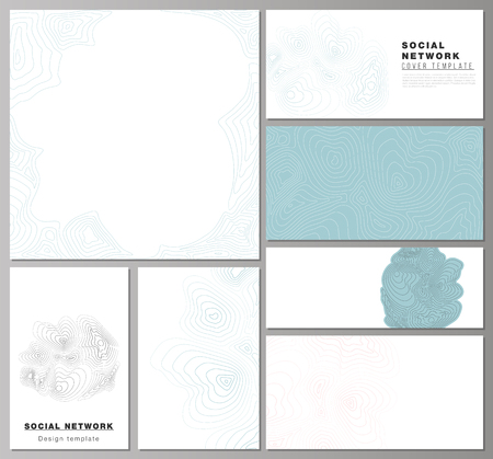 The minimalistic abstract vector illustration of the editable layouts of modern social network mockups in popular formats. Topographic contour map, abstract monochrome background