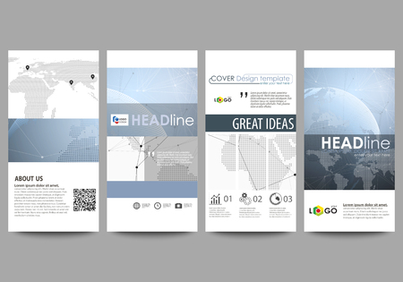 The minimalistic abstract vector illustration of the editable layout of four modern vertical banners, flyers design business templates. World globe on blue. Global network connections, lines and dots