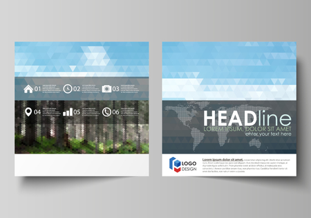 Business templates for square design brochure, magazine, flyer, booklet or annual report. Leaflet cover, abstract flat layout, easy editable vector. Colorful background made of triangular or hexagonal  イラスト・ベクター素材