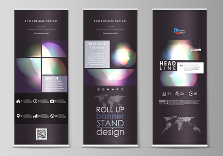 Set of roll up banner stands, flat design templates, abstract geometric style, modern business concept, corporate vertical vector flyers, flag layouts. Retro style, mystical Sci-Fi background. Futuris