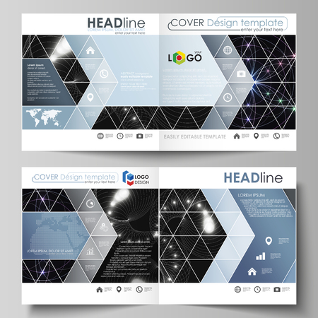 Business templates for square design bi fold brochure, magazine, flyer, booklet or annual report. Leaflet cover, abstract flat layout, easy editable vector. Sacred geometry, glowing geometrical orname