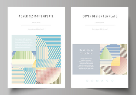 Business templates for brochure, magazine, flyer, booklet or annual report. Cover design template, easy editable vector, abstract flat layout in A4 size. Minimalistic design with lines, geometric shapes forming beautiful background.