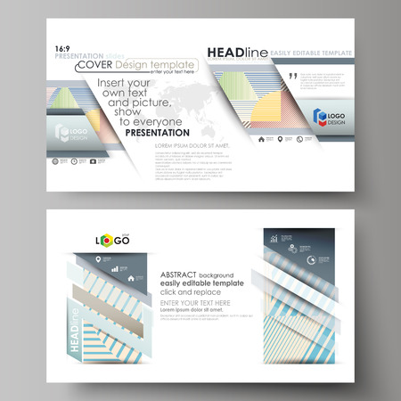 Business templates in HD format for presentation slides. Easy editable abstract vector layouts in flat design. Minimalistic design with lines, geometric shapes forming beautiful background.