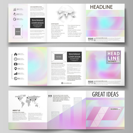 Zestaw szablonów biznesowych dla broszur projektowych tri fold kwadratowych. Okładka ulotki, abstrakcyjny układ płaski, łatwy do edycji wektor. Hologram, tło w pastelowych kolorach z efektem holograficznym. Niewyraźne kolorowy wzór, futurystyczna surrealistyczna tekstura. Ilustracje wektorowe