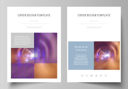 Business templates for brochure, magazine, flyer, booklet or annual report. Cover design template, easy editable vector, abstract flat layout in A4 size. Bright color colorful design, beautiful futuristic background. Illustration