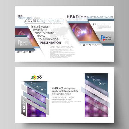 Business templates in HD format for presentation slides. Easy editable abstract vector layouts in flat design. Bright color colorful design, beautiful futuristic background.  イラスト・ベクター素材