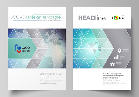 The vector illustration of the editable layout of two A4 format covers with triangles design templates for brochure, flyer, booklet. Molecule structure, connecting lines and dots. Technology concept Vetores