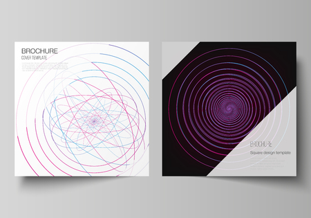 Vector editable layout of two square format covers design templates for brochure, flyer, magazine. Random chaotic lines that creat real shapes. Chaos pattern, abstract texture. Order vs chaos concept