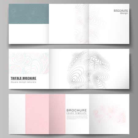 The minimal vector editable layout of square format covers design templates for trifold brochure, flyer, magazine. Topographic contour map, abstract monochrome background