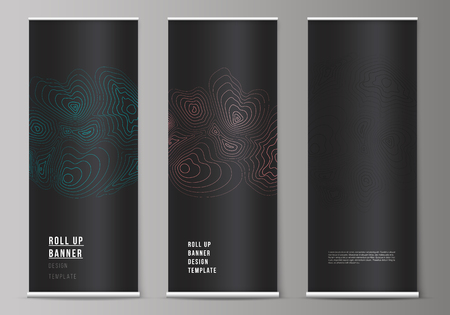 The vector illustration of the editable layout of roll up banner stands, vertical flyers, flags design business templates. Topographic contour map, abstract monochrome background