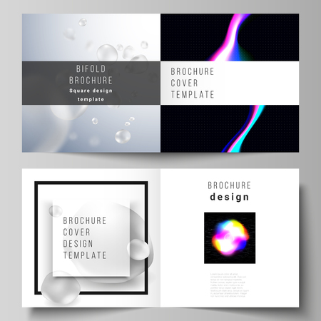 Vector layout of two covers templates for square design bifold brochure, magazine, flyer. SPA and healthcare design, sci-fi technology background. Abstract futuristic or medical consept backgrounds