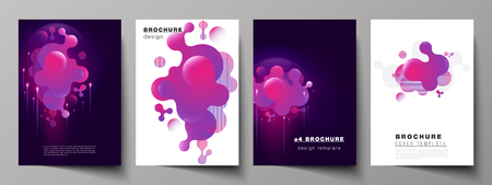The vector layout of A4 format modern cover mockups design templates for brochure, magazine, flyer, booklet, annual report. Black background with fluid gradient, liquid pink colored geometric element