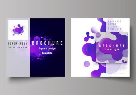 The minimal vector layout of two square format covers design templates for brochure, flyer, magazine. Black background with fluid gradient, liquid blue colored geometric element  イラスト・ベクター素材