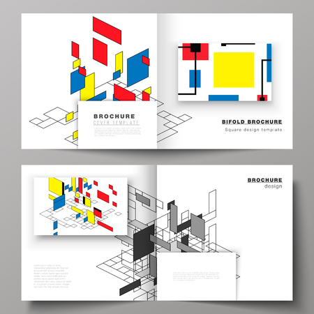 The vector illustration of two covers templates for square design bifold brochure, magazine, flyer, booklet. Abstract polygonal background, colorful mosaic pattern, retro bauhaus de stijl design