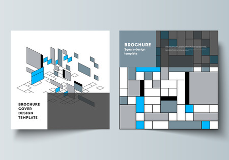 The minimal vector layout of two square format covers design templates for brochure, flyer, magazine. Abstract polygonal background, colorful mosaic pattern, retro bauhaus de stijl design  イラスト・ベクター素材