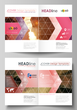 Business templates for bi fold brochure, magazine, flyer, booklet or annual report. Cover design template, easy editable vector, abstract flat layout in A4 size. Romantic couple kissing. Beautiful background. Geometrical pattern in triangular style. Ilustração