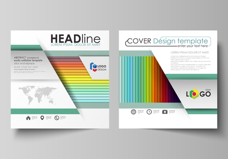 Business templates for square design brochure, magazine, flyer, booklet or annual report. Leaflet cover, abstract flat layout, easy editable vector. Bright color rectangles, colorful design with overlapping geometric rectangular shapes forming abstract beautiful background.