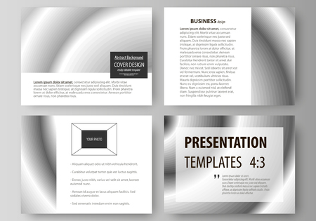 Set of business templates for presentation slides. Easy editable abstract vector layouts in flat design. Simple monochrome geometric pattern. Minimalistic background. Gray color shapes