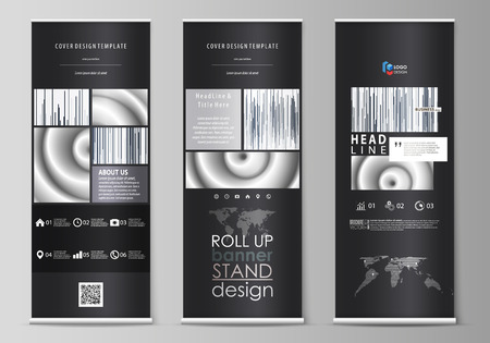 Set of roll up banner stands, flat design templates, abstract geometric style, modern business concept, corporate vertical vector flyers, flag layouts. Simple monochrome geometric pattern. Minimalisti