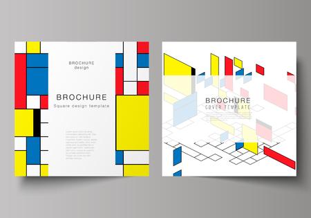 El diseño vectorial mínimo de dos formatos cuadrados cubre plantillas de diseño para folletos, volantes y revistas. Fondo poligonal abstracto, patrón de mosaico colorido, diseño retro bauhaus de stijl