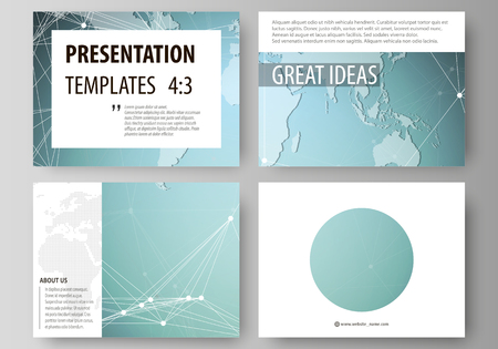The minimalistic abstract vector illustration of the editable layout of the presentation slides design business templates. Chemistry pattern, connecting lines and dots. Medical concept Vector Illustratie