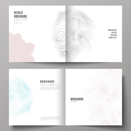The vector illustration of the editable layout of two covers templates for square design bifold brochure, magazine, flyer, booklet. Topographic contour map, abstract monochrome background