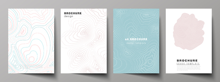 The vector illustration of editable layout of A4 format cover mockups design templates for brochure, magazine, flyer, booklet, annual report. Topographic contour map, abstract monochrome background Ilustração