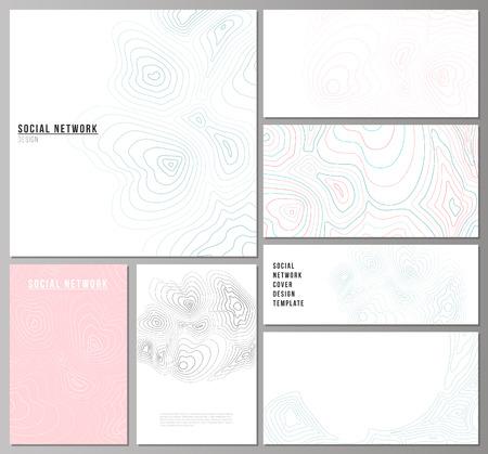 L'illustration vectorielle abstraite minimaliste des mises en page modifiables des maquettes de réseaux sociaux modernes dans des formats populaires. Carte de contour topographique, abstrait monochrome