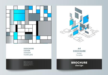 El diseño vectorial de maquetas de portadas modernas en formato A4 diseña plantillas para folletos, volantes, folletos, informes anuales. Fondo poligonal abstracto, patrón de mosaico colorido, diseño retro bauhaus de stijl