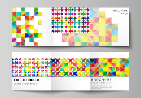 The minimal vector layout of square format covers design templates for trifold brochure, flyer, magazine. Abstract background, geometric mosaic pattern with bright circles, geometric shapes design