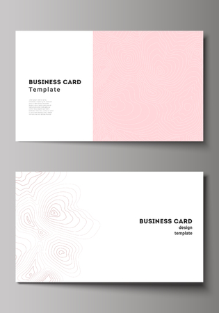 The minimalistic abstract vector illustration of the editable layout of two creative business cards design templates. Topographic contour map, abstract monochrome background