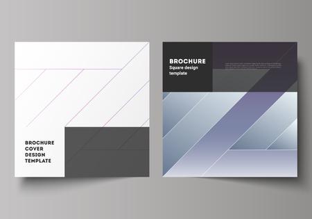 Die minimale Vektorgrafik des bearbeitbaren Layouts von zwei quadratischen Formaten umfasst Designvorlagen für Broschüren, Flyer, Zeitschriften. Kreatives modernes Coverkonzept, bunter Hintergrund