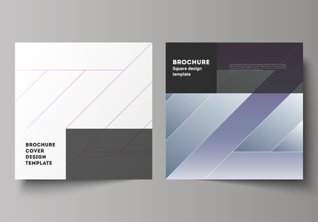 The minimal vector illustration of editable layout of two square format covers design templates for brochure, flyer, magazine. Creative modern cover concept, colorful background