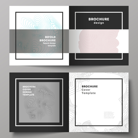 The black colored vector illustration of editable layout of two covers templates for square design bifold brochure, magazine, flyer, booklet. Topographic contour map, abstract monochrome background Ilustração