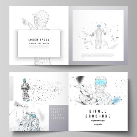 Ilustracja wektorowa edytowalnego układu dwóch okładek szablonów dla kwadratowej broszury bifold, magazynu, ulotki. Człowiek w okularach wirtualnej rzeczywistości. Streszczenie vr, koncepcja technologii przyszłości