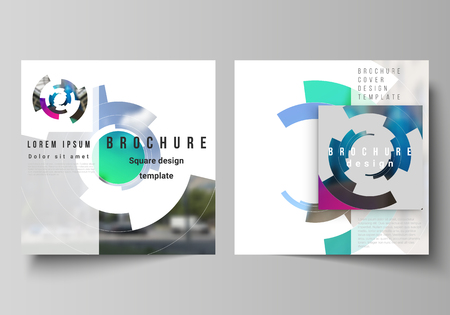 The minimal vector layout of two square format covers design templates for brochure, flyer, magazine. Futuristic design circular pattern, circle elements forming geometric frame for photo Çizim