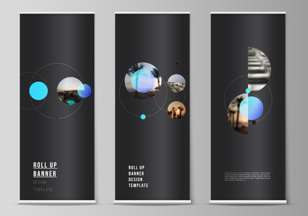 The vector layout of roll up banner stands, vertical flyers, flags design business templates. Simple design futuristic concept. Creative background with circles that form planets and stars