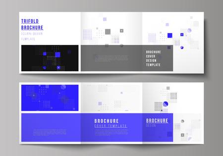 Czarna kolorowa minimalna ilustracja wektorowa edytowalnego układu. Nowoczesne kreatywne okładki szablonów do trójdzielnej kwadratowej broszury lub ulotki. Streszczenie tło z płynnych kształtów geometrycznych.